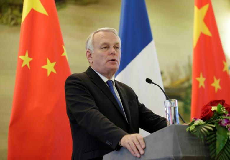 French Foreign Minister Jean-Marc Ayrault attends a joint news conference with China's Foreign Minister Wang Yi (not pictured) at the Ministry of Foreign Affairs in Beijing, China April 14, 2017. REUTERS/Jason Lee