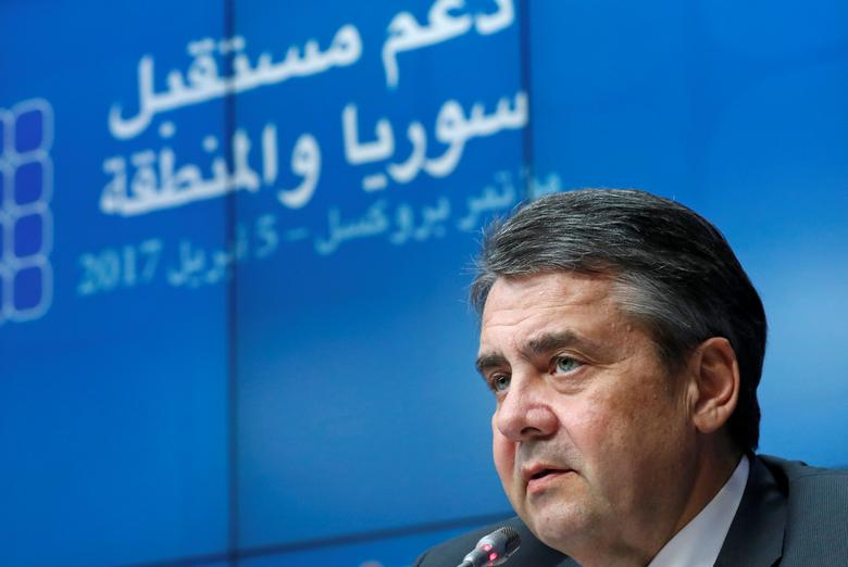 German Foreign Minister Sigmar Gabriel takes part in an international conference on the future of Syria and the region, in Brussels, Belgium, April 5, 2017. REUTERS/Yves Herman