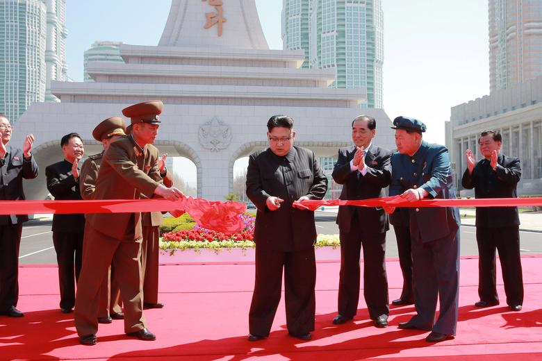 North Korea's leader Kim Jong Un cuts a ribbon during a ceremony in this undated photo released by North Korea's Korean Central News Agency (KCNA) in Pyongyang on April 16, 2017. KCNA/via REUTERS