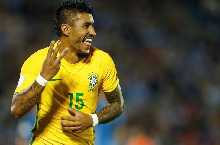 Football Soccer - Uruguay v Brazil - World Cup 2018 Qualifiers - Centenario stadium, Montevideo, Uruguay - 23/3/17 - Brazil's Paulinho celebrates his third goal. REUTERS/Andres Stapff