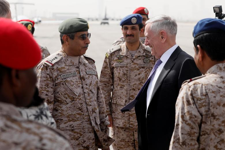 U.S. Defense Secretary James Mattis (R) is greeted by Saudi Armed Forces Chief of Joint Staff General Abdul Rahman Al Banyan (L) upon his arrival at King Salman Air Base, Riyadh, Saudi Arabia April 18, 2017. REUTERS/Jonathan Ernst