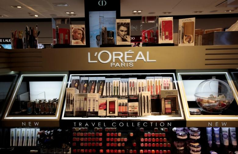 A cosmetic display of French cosmetics group L'Oreal is seen during the inauguration of the commercial zone at the Nice international airport Terminal 1 in Nice, France, June 10, 2016.  REUTERS/Eric Gaillard