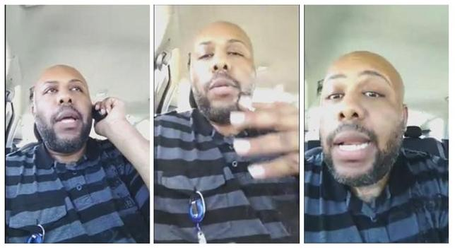 A man who identified himself as Steve Stephens is seen in a combination of stills from a video he broadcast of himself on Facebook in Cleveland, Ohio, U.S. April 16, 2017.  Stevie Steve/Social Media/ Handout via REUTERS