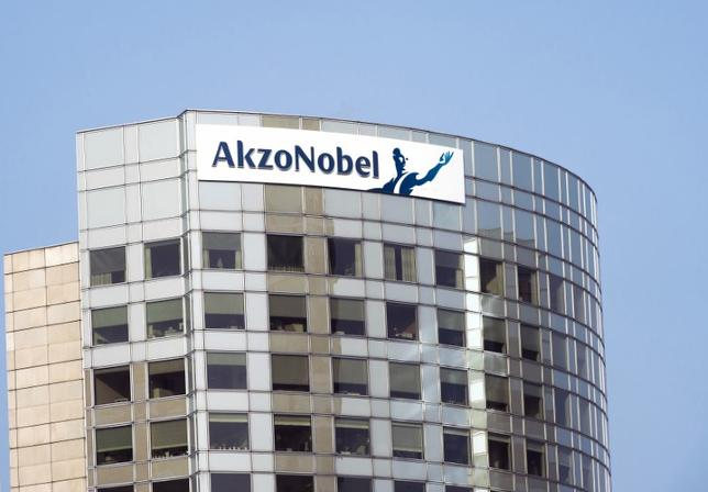The sign of AkzoNobel is pictured at its headquarters in Amsterdam February 6, 2014. REUTERS/Toussaint Kluiters/United Photos