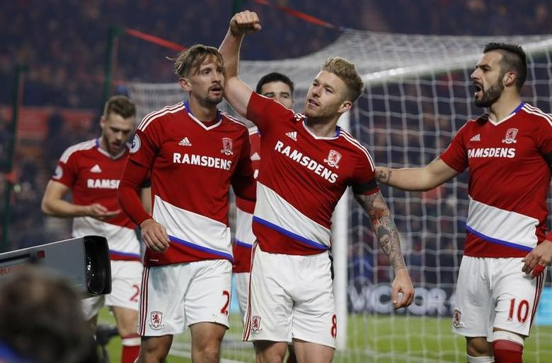 Britain Football Soccer - Middlesbrough v Hull City - Premier League - The Riverside Stadium - 5/12/16 Middlesbrough's Gaston Ramirez celebrates scoring their first goal with Adam Clayton and Alvaro Negredo Action Images via Reuters / Lee Smith