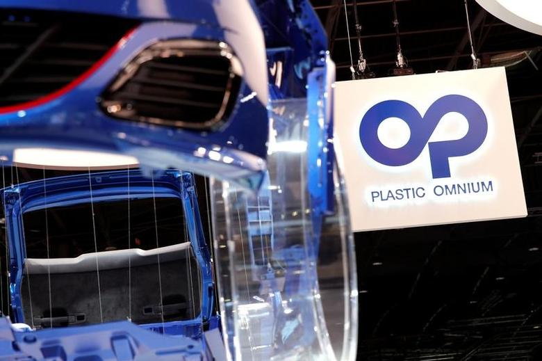 The Plastic Omnium logo is displayed on media day at the Paris auto show, in Paris, France, September 30, 2016. REUTERS/Benoit Tessier