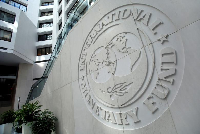 The International Monetary Fund logo is seen inside its headquarters at the end of the IMF/World Bank annual meetings in Washington, U.S., October 9, 2016. REUTERS/Yuri Gripas