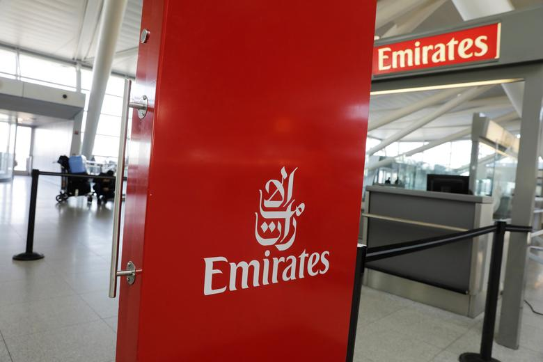FILE PHOTO: An Emirates Airlines ticket desk stands empty at JFK International Airport in New York, U.S., March 21, 2017.  REUTERS/Lucas Jackson