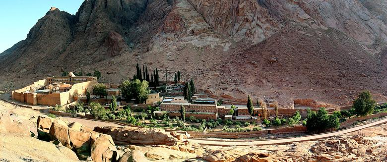 FILE PHOTO - A general view of the Saint Catherine's monastery (far left) with its living and tourist facility in the Sinai peninsula of Egypt May 18, 2005. REUTERS/Aladin Abdel Naby/File Photo
