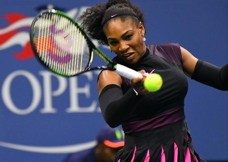 Aug 30, 2016; New York, NY, USA; Serena Williams of the USA hits to Ekaterina Makarova of Russia on day two of the 2016 U.S. Open tennis tournament at USTA Billie Jean King National Tennis Center. Mandatory Credit: Robert Deutsch-USA TODAY Sports  / Reuters