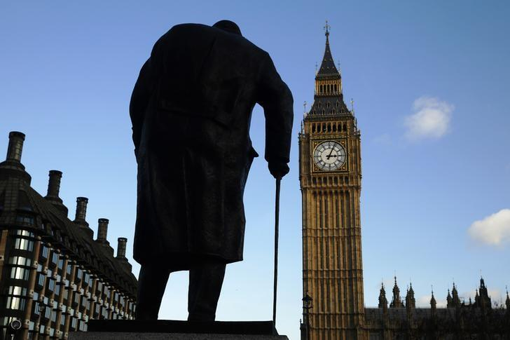 资料图片:2015年1月,伦敦议会大厦前英国前首相丘吉尔的塑像。REUTERS/Luke MacGregor