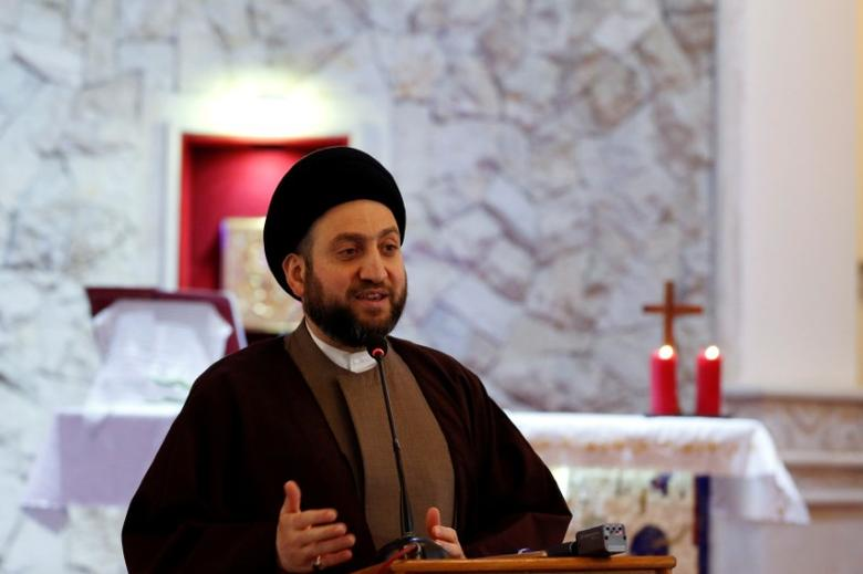 FILE PHOTO: Ammar al-Hakim, leader of the Islamic Supreme Council of Iraq (ISCI), speaks during a mass on Christmas at Mar George Chaldean Church in Baghdad, December 25, 2016. REUTERS/Ahmed Saad