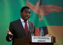 Zambian opposition United Party for National Development (UPND) leader Hakainde Hichilema speaks during a live television debate in Lusaka, January 15, 2015. REUTERS/Rogan Ward/File Photo