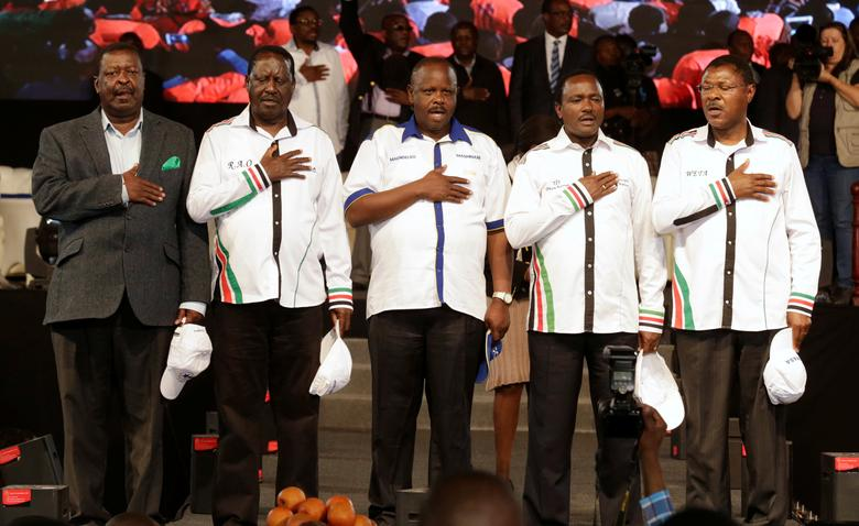 Kenyan opposition leaders (L-R), Musalia Mudavadi, Raila Odinga, Isaac Ruto, Kalonzo Musyoka, and Moses Wetangula sing the national anthem as they announce their National Super Alliance (NASA) coalition for the 2017 general elections in Nairobi, Kenya, April 20, 2017. REUTERS/Thomas Mukoya