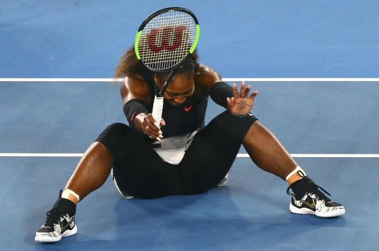 Tennis - Australian Open - Melbourne Park, Melbourne, Australia - 28/1/17 Serena Williams of the U.S. celebrates winning her Women's singles final match against Venus Williams of the U.S. .REUTERS/David Gray