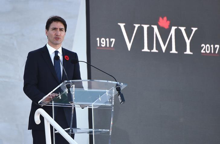 Canadian Prime Minister Justin Trudeau delivers a speech during a commemoration ceremony at the Canadian National Vimy Memorial in Vimy, near Arras, northern France, on April 9, 2017.  REUTERS/Philippe Huguen/POOL
