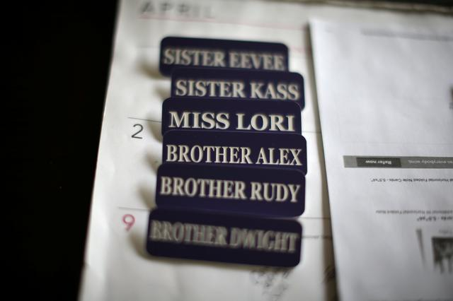 Name badges are seen in the office of Sisters of the Valley near Merced, California, U.S., April 18, 2017.  REUTERS/Lucy Nicholson