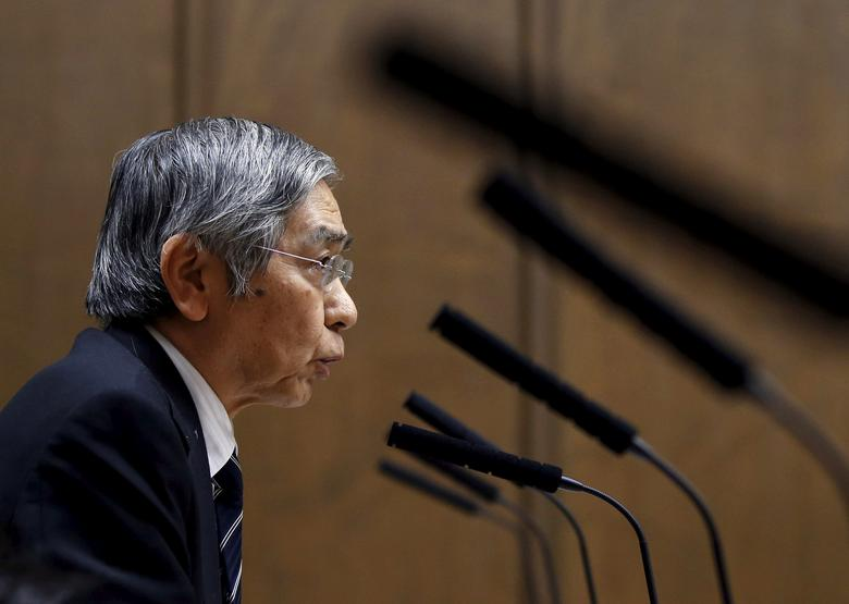 FILE PHOTO: Bank of Japan (BOJ) Governor Haruhiko Kuroda speaks during an upper house financial committee meeting of the Parliament in Tokyo, Japan February 18, 2016.    REUTERS/Toru Hanai/File Photo