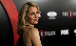 "FILE PHOTO:  Cast member Gillian Anderson poses at a premiere for ""The X-Files"" at California Science Center in Los Angeles, California, U.S. on January 12, 2016.   REUTERS/Mario Anzuoni/File Photo"