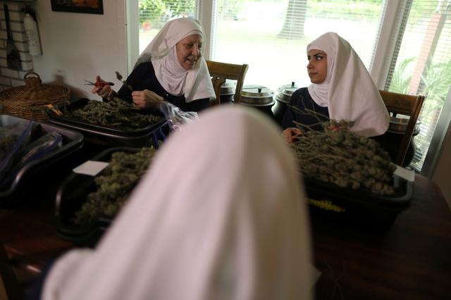 California ''weed nun'' Christine Meeusen, 57, who goes by the name Sister Kate (L), and India Delgado, who goes by the name Sister Eevee, trim hemp in the kitchen at Sisters of the Valley near Merced, California, U.S., April 18, 2017. Picture taken April 18, 2017. REUTERS/Lucy Nicholson