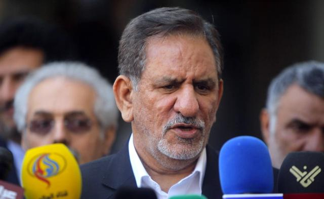 Iranian Vice President Eshaq Jahangiri speaks during a news conference after a meeting with Iraq's top Shi'ite cleric Grand Ayatollah Ali al-Sistani in Najaf, south of Baghdad, February 18, 2015. REUTERS/Alaa Al-Marjani