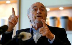 Former FIFA President Sepp Blatter gestures during an interview in Zurich, Switzerland April 21, 2017.  REUTERS/Arnd Wiegmann