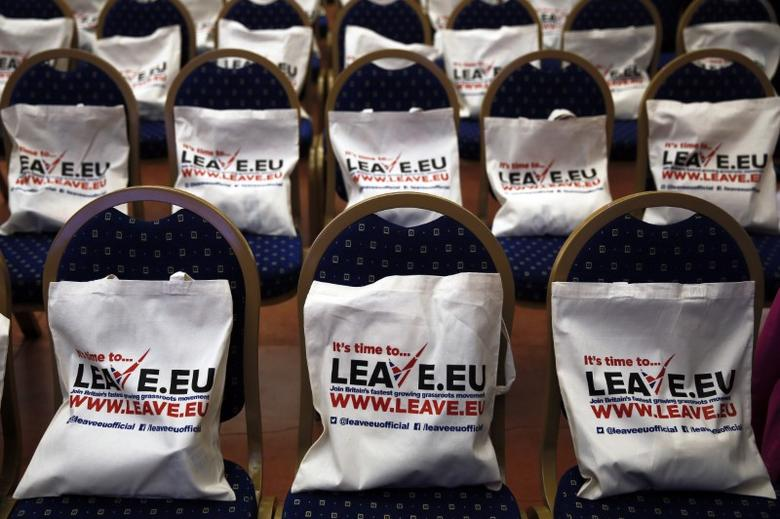 FILE PHOTO: Campaign bags are placed on seats before the start of a Leave.EU campaign news conference in central London, Britain November 18, 2015. REUTERS/Stefan Wermuth
