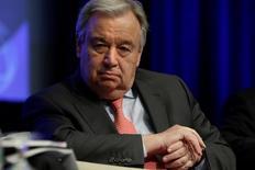الأمين العام للأمم المتحدة أنطونيو جوتيريش يحضر اجتماعات صندوق النقد الدولي والبنك الدولي في العاصمة الأمريكية واشنطن يوم الجمعة. تصوير يوري جريباس - رويترز.