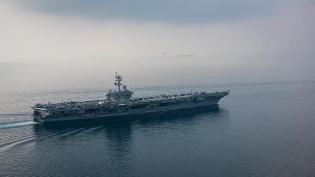 The aircraft carrier USS Carl Vinson (CVN 70) transits the Sunda Strait April 15, 2017. U.S. Navy Photo by Mass Communication Specialist 2nd Class Sean M. Castellano/Handout via REUTERS