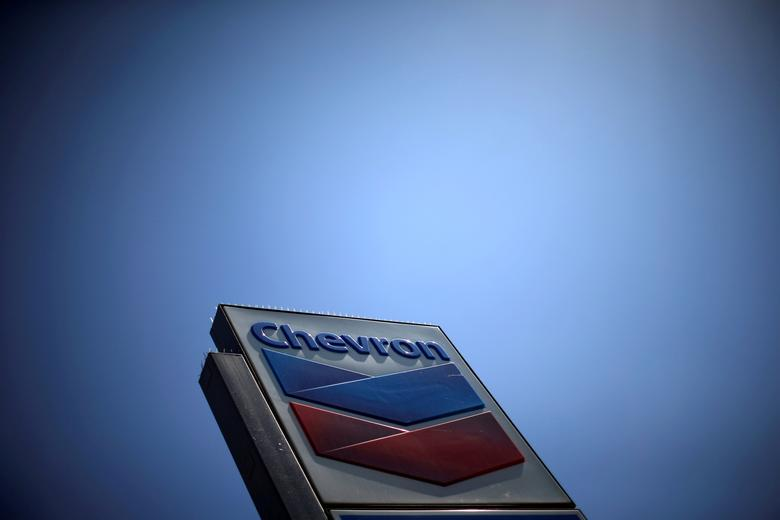 FILE PHOTO: The logo of Chevron (CVX) is seen in Los Angeles, California, United States, April 12, 2016. REUTERS/Lucy Nicholson/File Photo                       GLOBAL BUSINESS WEEK AHEAD    SEARCH GLOBAL BUSINESS 24 APR FOR ALL IMAGES