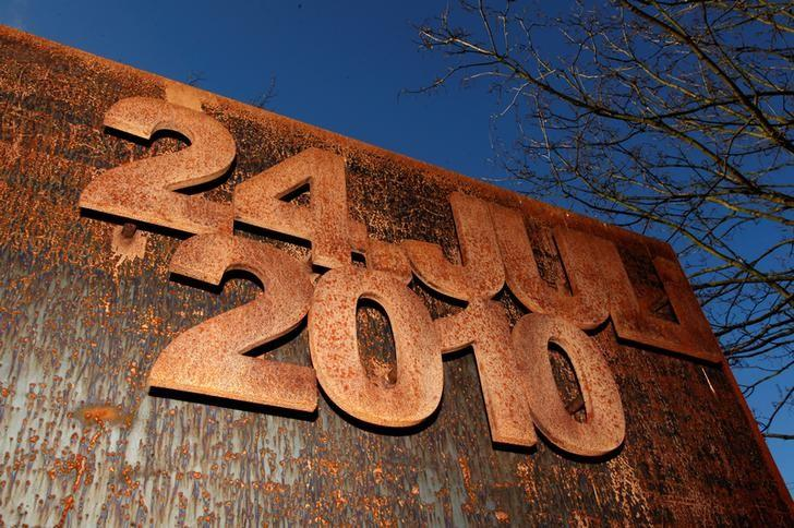 The date inscription at a memorial remembering the victims of the stampede at the Love Parade techno festival 2010 is pictured in Duisburg, January 28, 2014. REUTERS/Ina Fassbender/File Photo