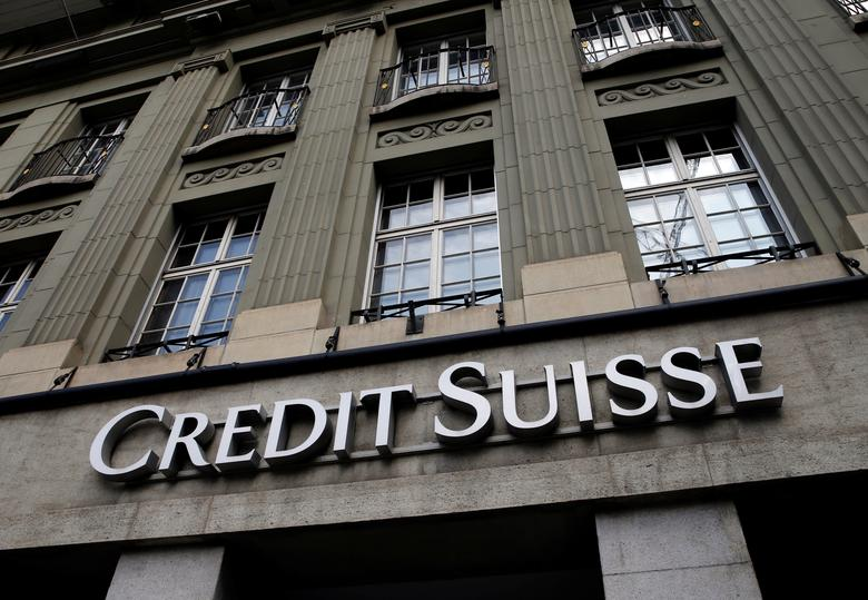A logo is pictured on a branch of the Credit Suisse bank in Bern, Switzerland April 4, 2017. REUTERS/Denis Balibouse
