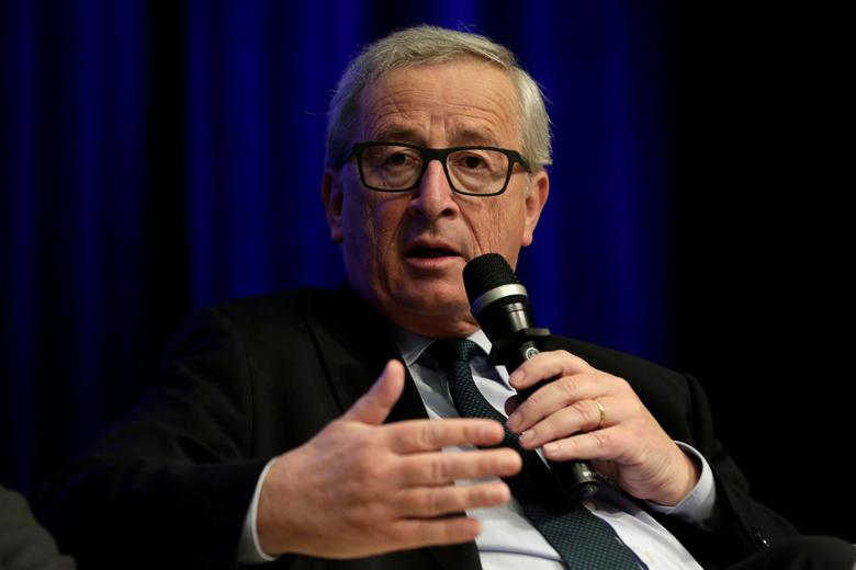 European Commission President Jean-Claude Juncker speaks at Financing for Peace: Innovations to Tackle Fragility session during the IMF/World Bank spring meetings in Washington, U.S., April 21, 2017. REUTERS/Yuri Gripas
