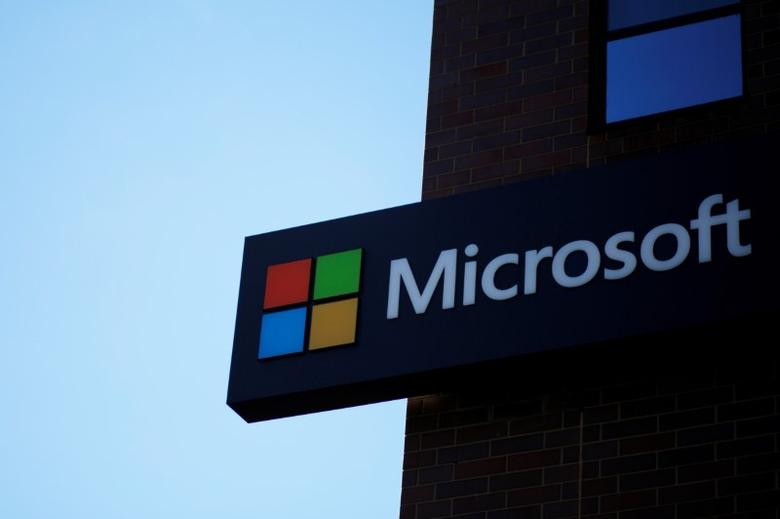 A sign marks the Microsoft office in Cambridge, Massachusetts.   REUTERS/Brian Snyder