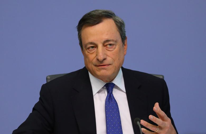 European Central Bank (ECB) President Mario Draghi addresses a news conference at the ECB headquarters in Frankfurt, Germany, April 27, 2017.     REUTERS/Kai Pfaffenbach