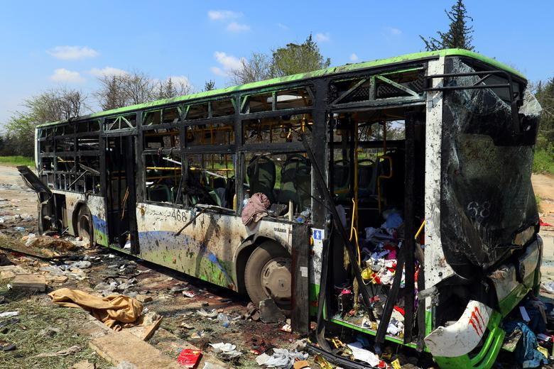 FILE PHOTO: A damaged bus is seen after an explosion at insurgent-held al-Rashideen, Aleppo province, Syria April 16, 2017. REUTERS/Ammar Abdullah/File photo