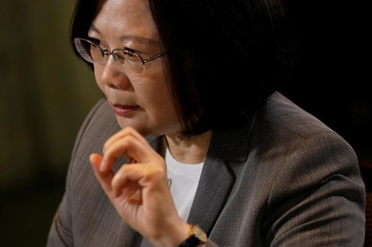 Taiwan President Tsai Ing-wen speaks during an interview with Reuters at the Presidential Office in Taipei, Taiwan April 27, 2017. REUTERS/Tyrone Siu