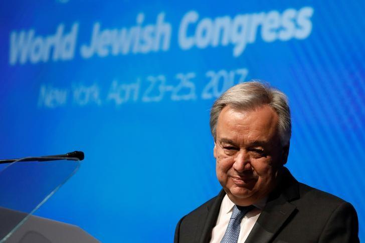 United Nations Secretary-General Antonio Guterres addresses the 15th Plenary Assembly of the World Jewish Congress in New York City, U.S., April 23, 2017. REUTERS/Brendan McDermid