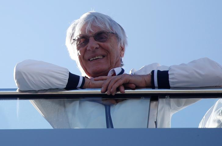 Formula One - F1 - Russian Grand Prix - Sochi, Russia - 29/04/17 - Former Chief Executive of the Formula One Group Bernie Ecclestone looks from a balcony. REUTERS/Maxim Shemetov