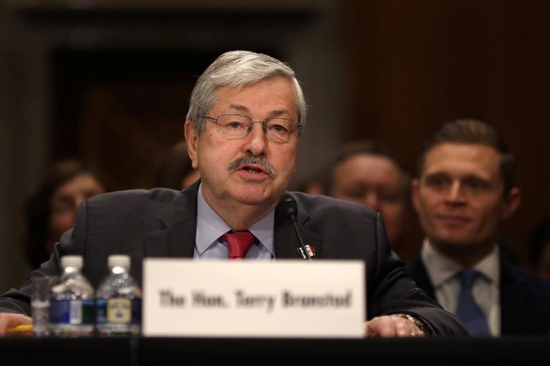 Iowa Governor Terry Branstad testifies before a Senate Foreign Relations Committee confirmation hearing on his nomination to be U.S. ambassador to China at Capitol Hill in Washington D.C., U.S., May 2, 2017.  REUTERS/Carlos Barria