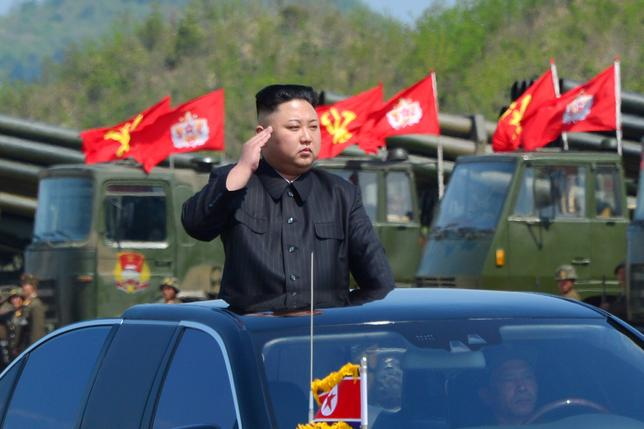 North Korea's leader Kim Jong Un watches a military drill marking the 85th anniversary of the establishment of the Korean People's Army. KCNA/via REUTERS