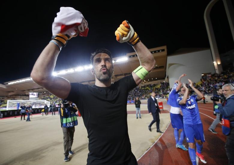 Football Soccer - AS Monaco v Juventus - UEFA Champions League Semi Final First Leg  - Stade Louis II, Monaco - 3/5/17 Juventus' Gianluigi Buffon celebrates after the match Reuters / Jean-Paul Pelissier Livepic