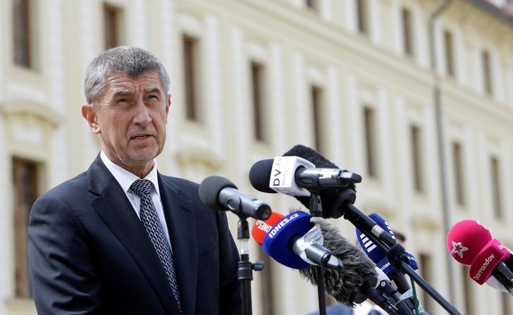 Czech Finance Minister Andrej Babis speaks to journalists, as he arrives at Prague Castle, to meet with President Milos Zeman in Prague, Czech Republic May 3, 2017. REUTERS/David W Cerny