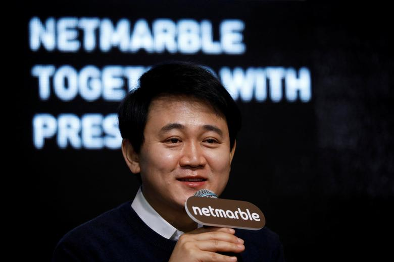 FILE PICTURE - Bang Jun-hyuk, founder and chairman of the board of Netmarble Games, speaks during a news conference in Seoul, South Korea, January 18, 2017.   REUTERS/Kim Hong-Ji/File Picture