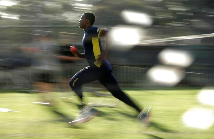 Cricket - Australia v South Africa - Third Test cricket match - Adelaide Oval, Adelaide, Australia - 23/11/16. South African bowler Kagiso Rabada runs to deliver a ball during a training session in Adelaide.    REUTERS/Jason Reed/File Photo