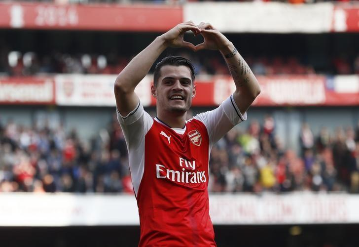 Britain Soccer Football - Arsenal v Manchester United - Premier League - Emirates Stadium - 7/5/17 Arsenal's Granit Xhaka celebrates scoring their first goal  Reuters / Stefan Wermuth Livepic
