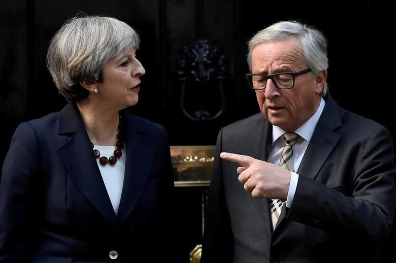 Britain's Prime Minister Theresa May welcomes Head of the European Commission, President Jean-Claude Juncker, to Downing Street in London, Britain April 26, 2017. REUTERS/Hannah McKay/File Photo - RTS15A6D