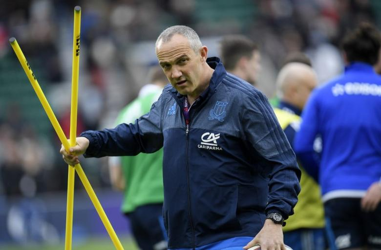 Britain Rugby Union - England v Italy - Six Nations Championship - Twickenham Stadium, London - 26/2/17 Italy head coach Conor O'Shea during the warm up  before the game Reuters / Toby Melville Livepic