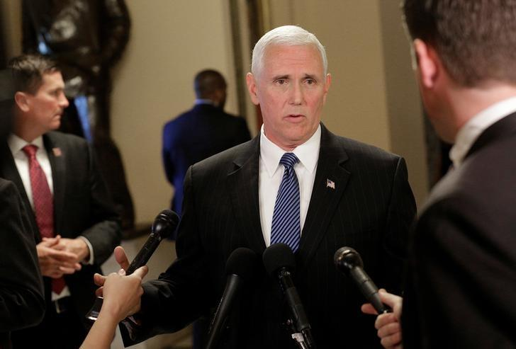 U.S. Vice President Mike Pence speaks to reporters at the U.S. Capitol in Washington, U.S., May 10, 2017. REUTERS/Joshua Roberts