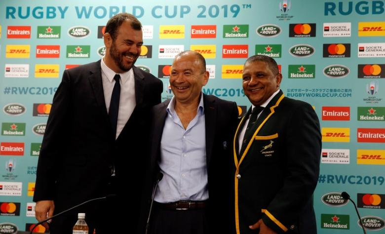 (L-R) Australia head coach Michael Cheika, England head coach Eddie Jones and South Africa head coach Allister Coetzee attend a news conference after the Rugby World Cup 2019 pool draw at Kyoto State Guest House in Kyoto, Japan May 10, 2017. REUTERS/Issei Kato